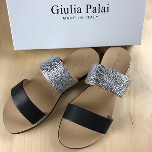 Giulia Palai Two Straps Slide Leather Sandal.